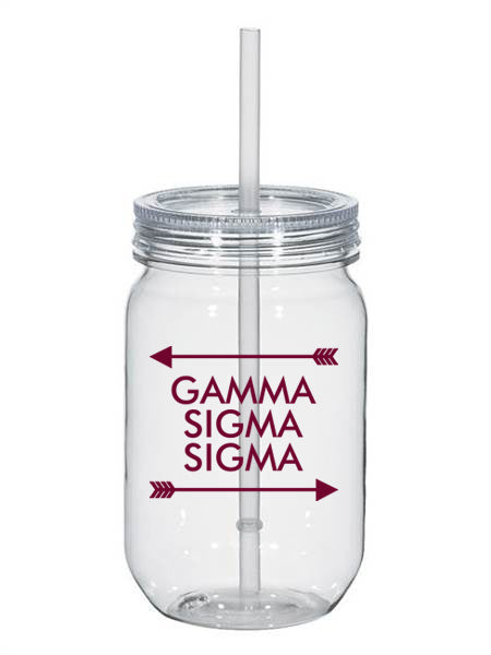 Gamma Sigma Sigma Arrow Top Bottom 25oz Mason Jar
