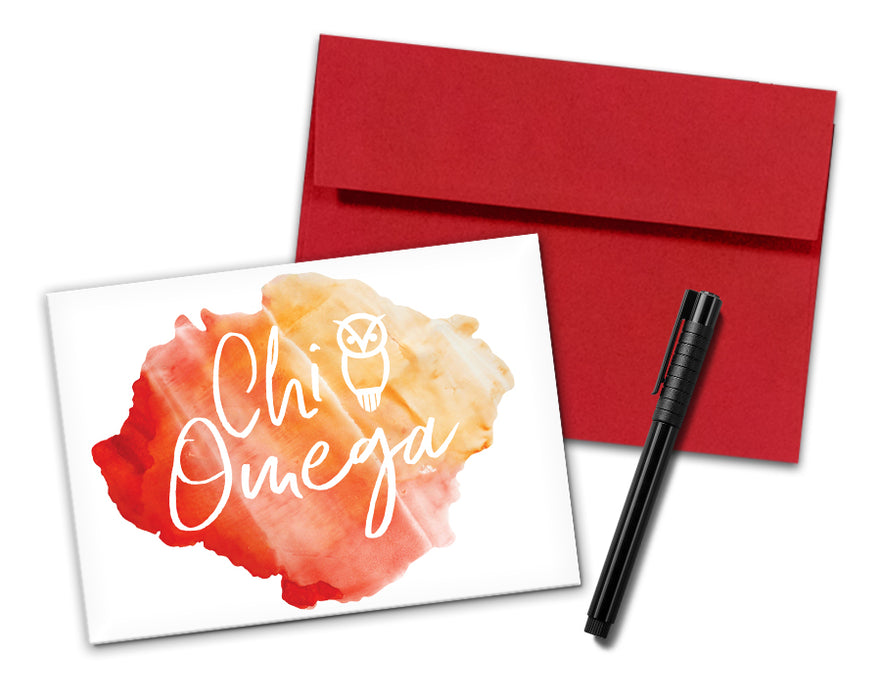 Chi Omega Sorority Watercolor Notecards (6)