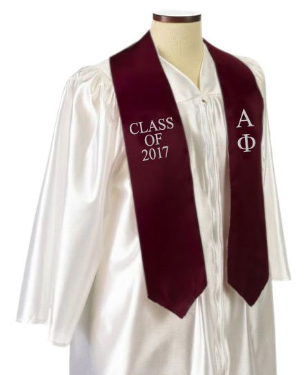 Alpha Phi Classic Colors Embroidered Grad Stole