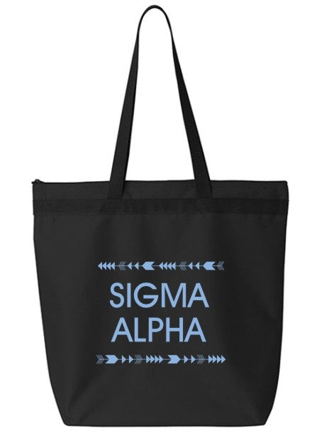 Sigma Alpha Arrow Top Bottom Tote Bag