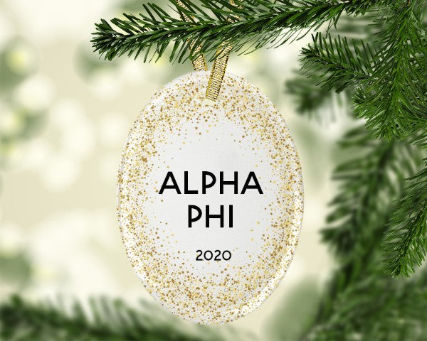 Alpha Phi Gold Speckled Glass Ornament