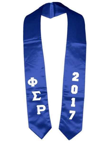 Phi Sigma Rho Slanted Grad Stole with Letters & Year