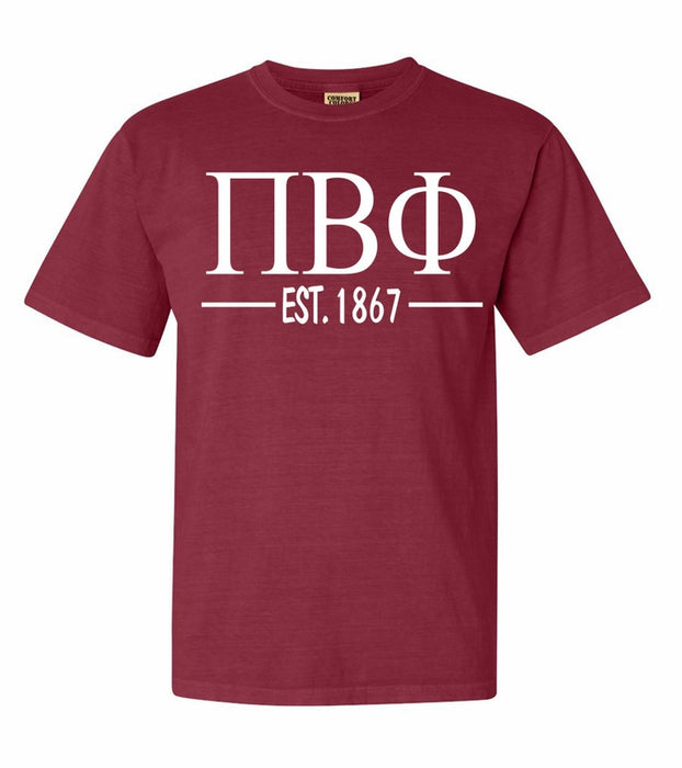 Pi Beta Phi Comfort Colors Established Sorority T-Shirt