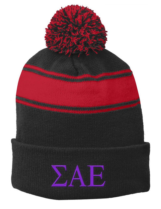 Sigma Alpha Epsilon Embroidered Pom Pom Beanie