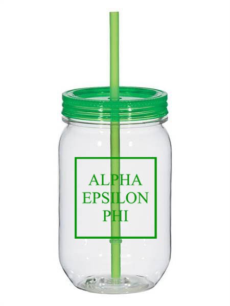 Alpha Epsilon Phi Box Stacked 25oz Mason Jar