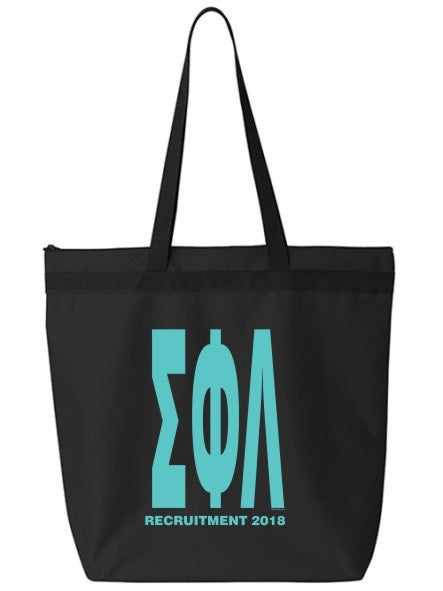 Sigma Phi Lambda Impact Letters Zippered Poly Tote
