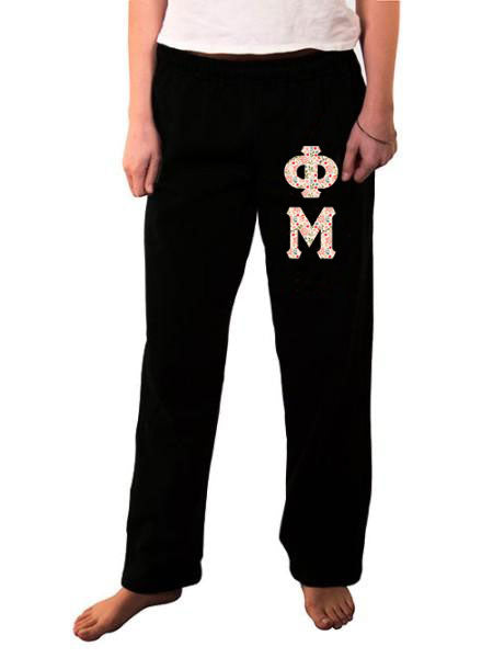 Phi Mu Open Bottom Sweatpants with Sewn-On Letters