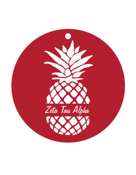 Zeta Tau Alpha White Pineapple Sunburst Ornament