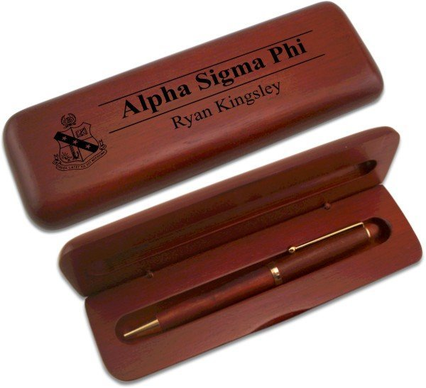 Alpha Sigma Phi Wooden Pen Case & Pen