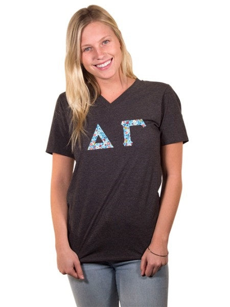 Delta Gamma Unisex V-Neck T-Shirt with Sewn-On Letters