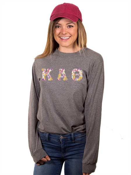 Kappa Alpha Theta Long Sleeve T-shirt with Sewn-On Letters