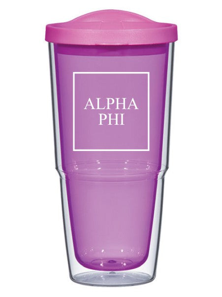 Alpha Phi Box Stacked 24oz Tumbler with Lid