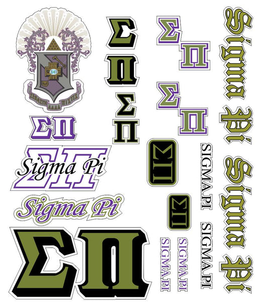 Sigma Pi Multi Greek Decal Sticker Sheet
