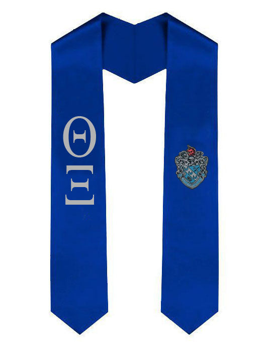 Theta Xi Lettered Graduation Sash Stole with Crest