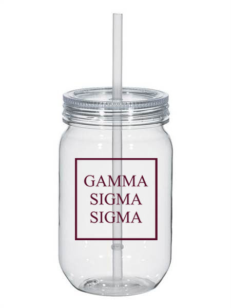 Gamma Sigma Sigma Box Stacked 25oz Mason Jar