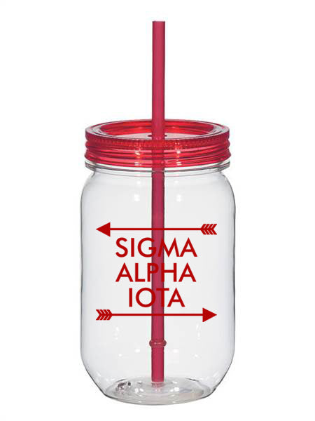 Sigma Alpha Iota Arrow Top Bottom 25oz Mason Jar