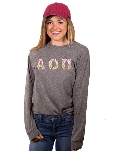 Alpha Omicron Pi Long Sleeve T-shirt with Sewn-On Letters