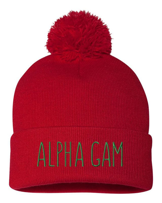 Alpha Gamma Delta Sorority Beanie With Pom Pom