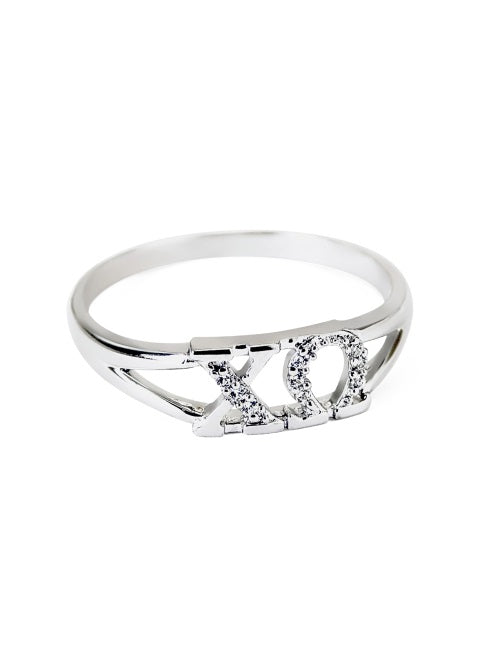 Chi Omega Sterling Silver Ring with Lab Created Clear Diamond