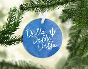 Delta Delta Delta Round Acrylic Watercolor Ornament