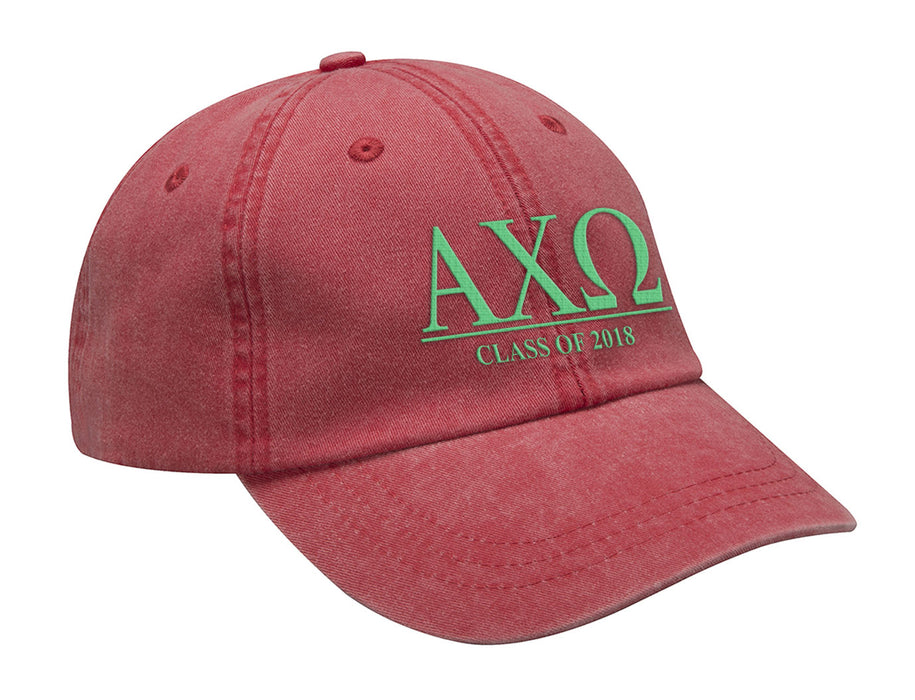 Alpha Chi Omega Embroidered Hat with Custom Text