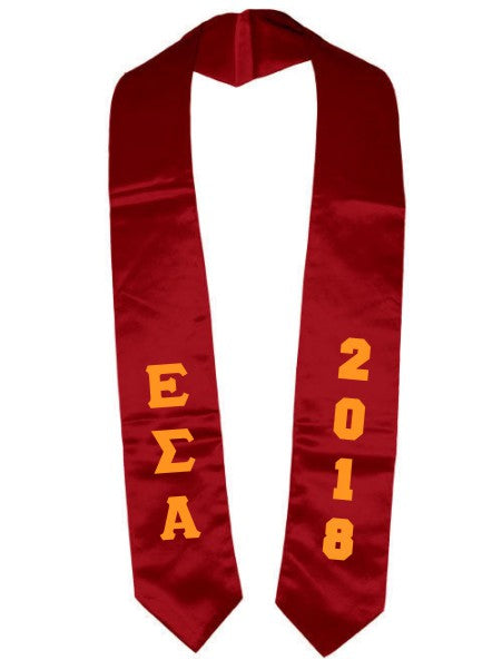 Epsilon Sigma Alpha Vertical Grad Stole with Letters & Year