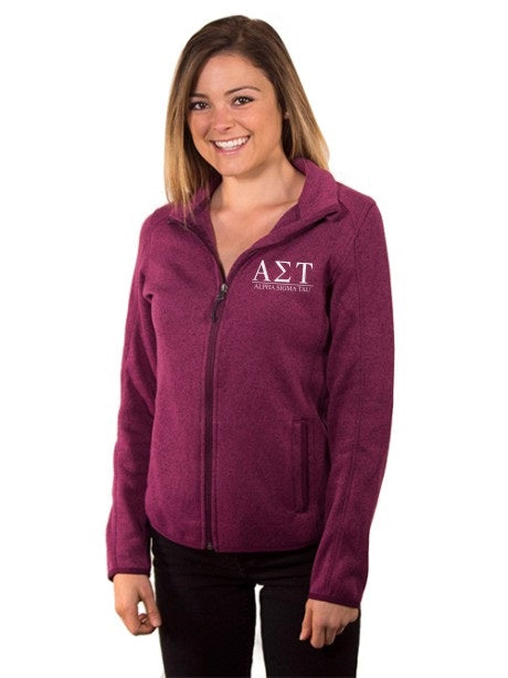 Alpha Sigma Tau Embroidered Ladies Sweater Fleece Jacket
