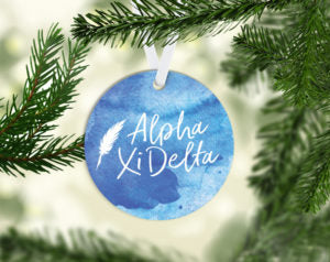 Alpha Xi Delta Round Acrylic Watercolor Ornament