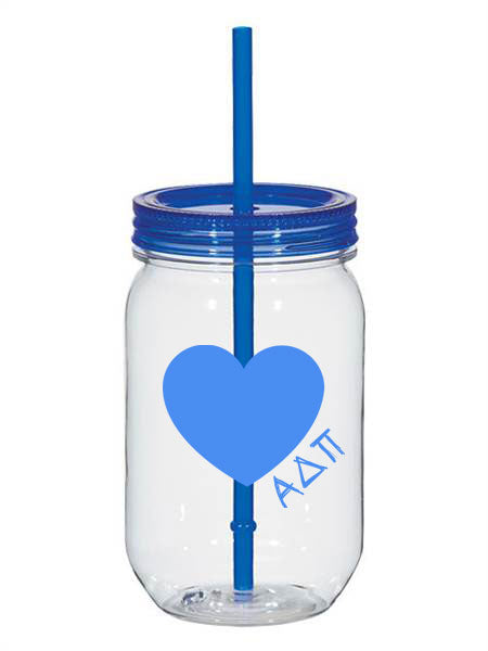 Alpha Delta Pi 25oz Scribbled Heart Mason Jar
