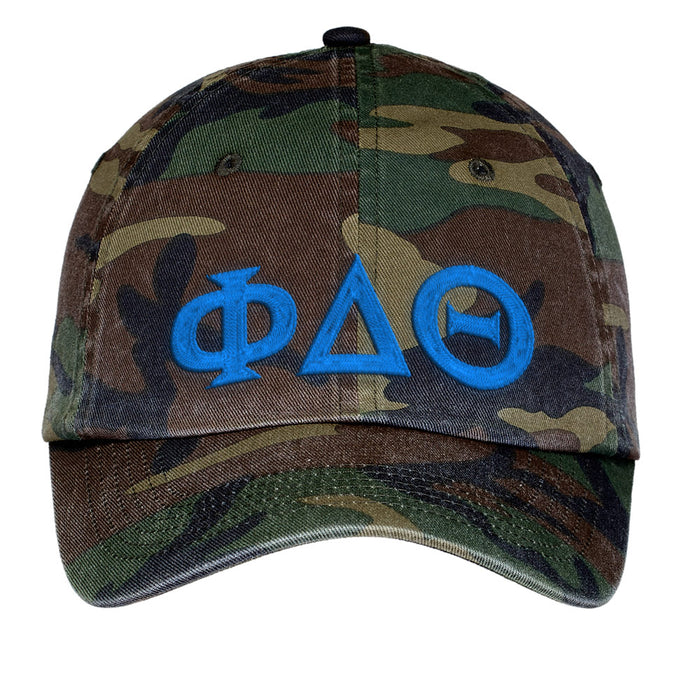 Phi Delta Theta Letters Embroidered Camouflage Hat