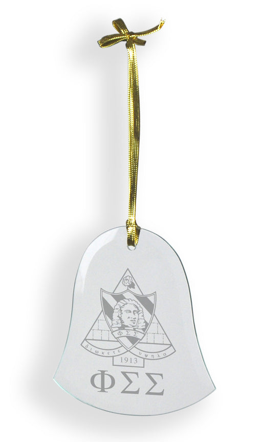 Phi Sigma Sigma Glass Bell Ornament