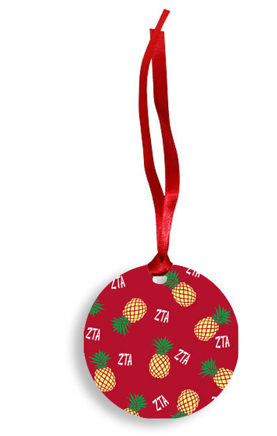 Zeta Tau Alpha Yellow Pineapple Pattern Sunburst Ornament