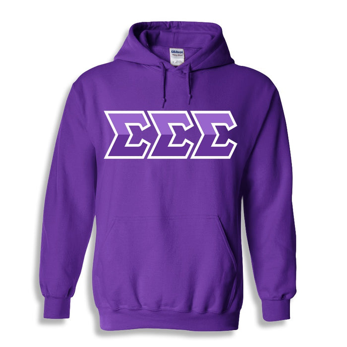 Sigma Sigma Sigma Two Toned Lettered Hooded Sweatshirt