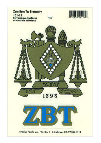 Zeta Beta Tau Crest Decal