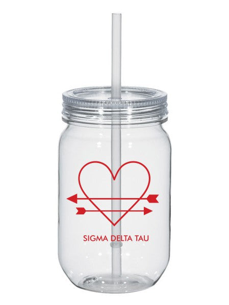 Sigma Delta Tau Heart Arrows Name 25oz Mason Jar