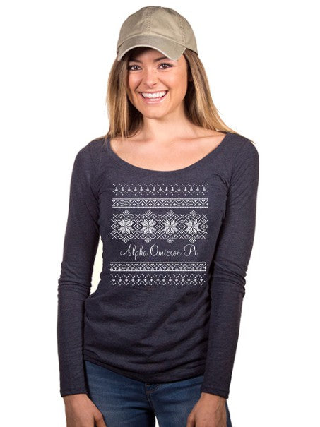 Alpha Omicron Pi Holiday Snowflake Fitted Long-Sleeve Scoop Tee
