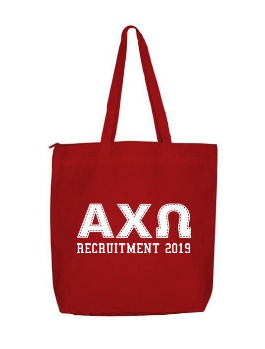 Alpha Chi Omega Collegiate Letters Event Tote Bag