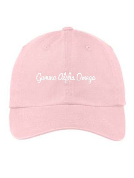 Gamma Alpha Omega Cursive Embroidered Hat