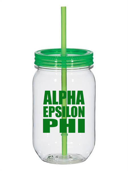 Alpha Epsilon Phi Big Stacked Greek 25oz Mason Jar