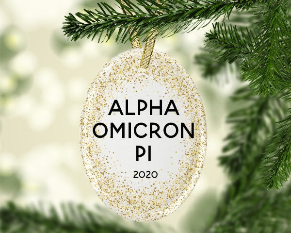Alpha Omicron Pi Gold Speckled Glass Ornament