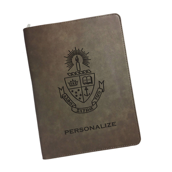 Alpha Sigma Tau Leatherette Portfolio with Notepad