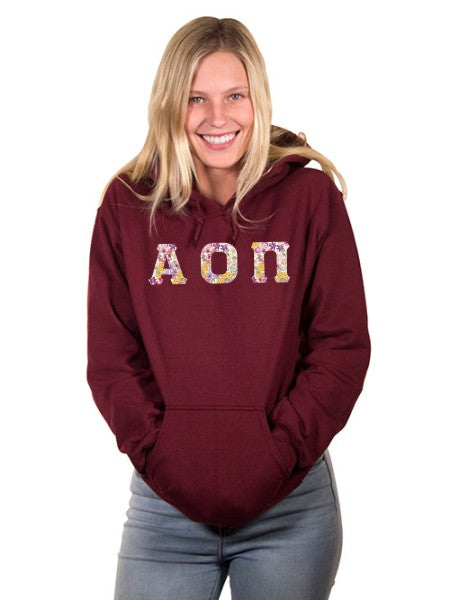 Alpha Omicron Pi Unisex Hooded Sweatshirt with Sewn-On Letters