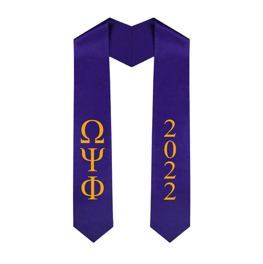 Omega Psi Phi Vertical Grad Stole with Letters & Year
