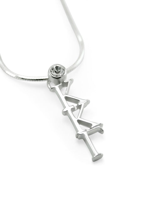 Kappa Kappa Gamma Sterling Silver Lavaliere Pendant with Clear Swarovski Crystal