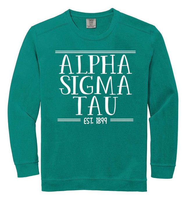 Alpha Sigma Tau Comfort Colors Custom Sorority Sweatshirt