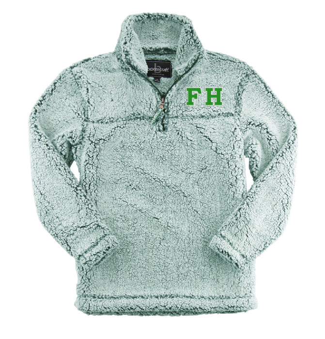 Farmhouse Embroidered Sherpa Quarter Zip Pullover