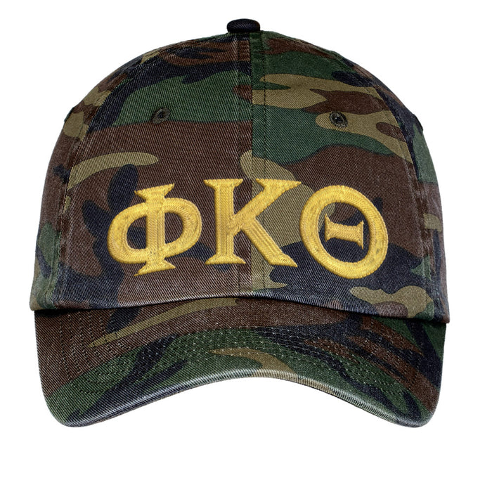 Phi Kappa Theta Letters Embroidered Camouflage Hat