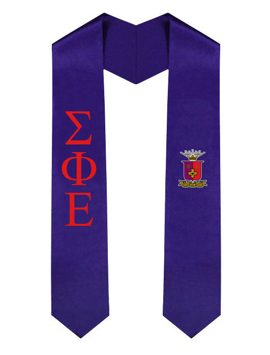 Sigma Phi Epsilon Lettered Graduation Sash Stole with Crest