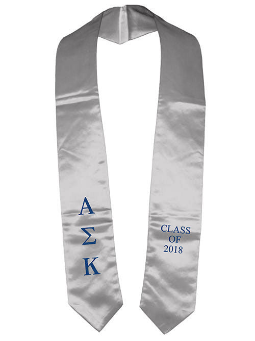 Alpha Sigma Kappa Classic Colors Embroidered Grad Stole