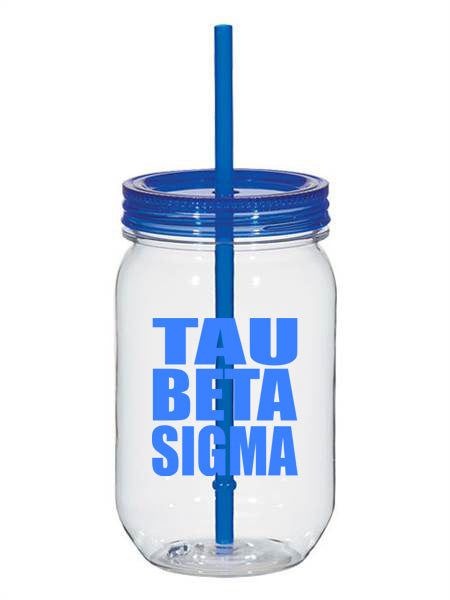 Tau Beta Sigma Big Stacked Greek 25oz Mason Jar